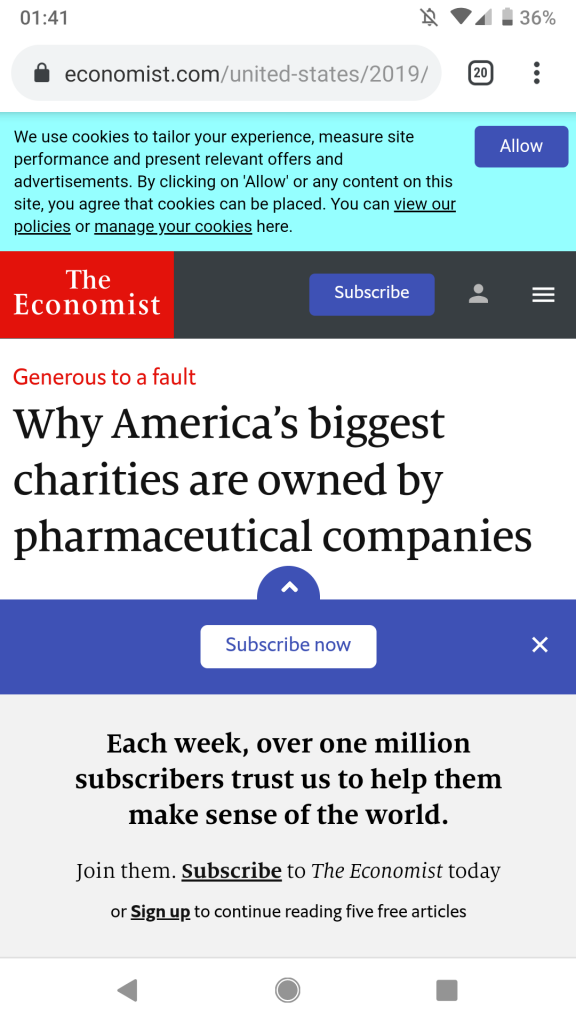 The Economist on mobile is mostly sticky bullshit